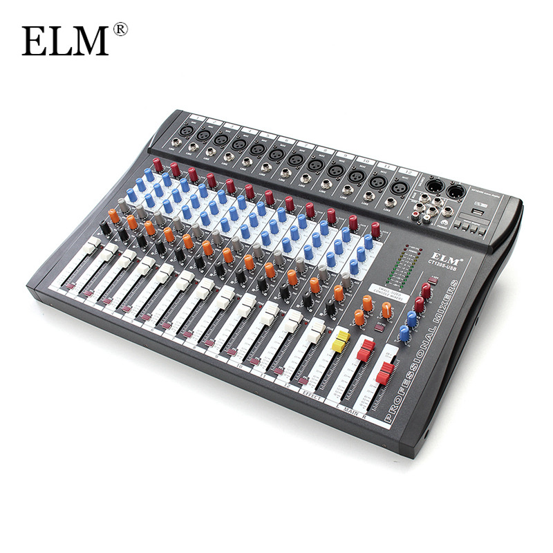 ELM Professional 12 Channel Karaoke Audio Mixer Digital Microphone Sound Console Mixing Amplifier 48V Phantom Power With USB mini portable audio mixer with usb dj sound mixing console mp3 jack 4 channel karaoke 48v amplifier for karaoke ktv match party