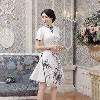 New Summer Sexy White Satin Chinese National QiPao Vietnam Ao Dai Dress Lady S Short Sleeve
