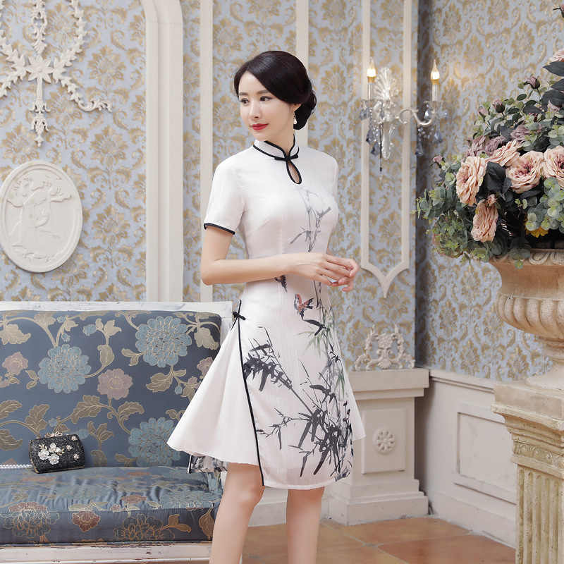 b1350ae3c2a New Summer Sexy White Satin Chinese National QiPao Vietnam Ao Dai Dress  Lady  s Short Sleeve Print Tight Short Dress S-2XL AD4-A