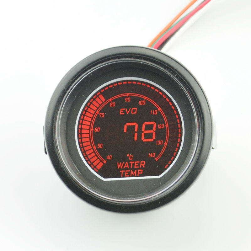 52mm Digital LCD car motorcycle Racing Refit Water temperature gauge Black shell Red and blue Backlight Stepper motor 40-140 C