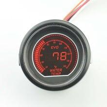 52 мм Цифровой ЖК-прокат Гоночных мотоциклов Ремонт Воды датчик температуры Черный shell Красный и голубой Подсветкой Шагового двигателя 40-140 ° C