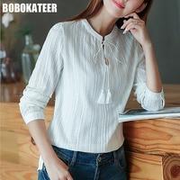 BOBOKATEER Cotton Shirt Women Blouses Long Sleeves White Blouse Women Tops Blusas Mujer De Moda 2017
