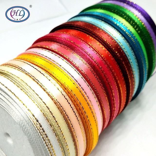 HL 15 màu sắc bạn chọn 1 cuộn (25 yards) 6 MM Vàng Cạnh Rắn Satin Ribbon Cưới Giáng Sinh Trang Trí Món Quà Gói DIY Thủ Công Mỹ Nghệ
