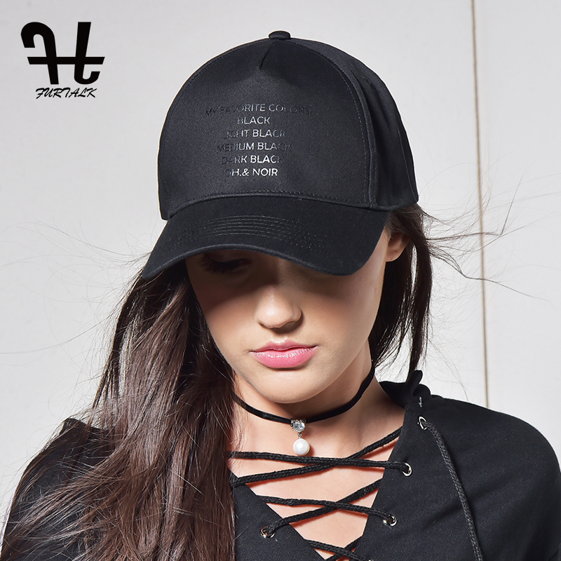 FURTALK Black Caps for Women Herre Baseball Cap Mode Mærke Summer Snapback Justerbar Hip Hop Cap Kvinde Dad Snapback Hatte 2019