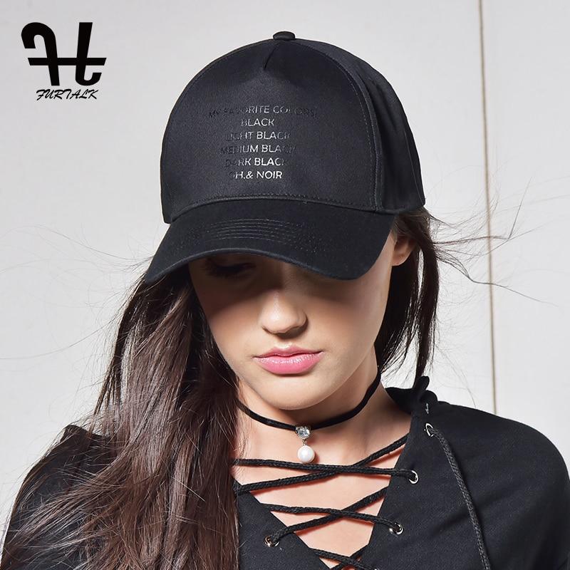 FURTALK Black Caps for Women Men Baseball Cap Fashion Brand Summer Snapback Adjustable Hip Hop Cap Female Dad Snapback Hats 2019