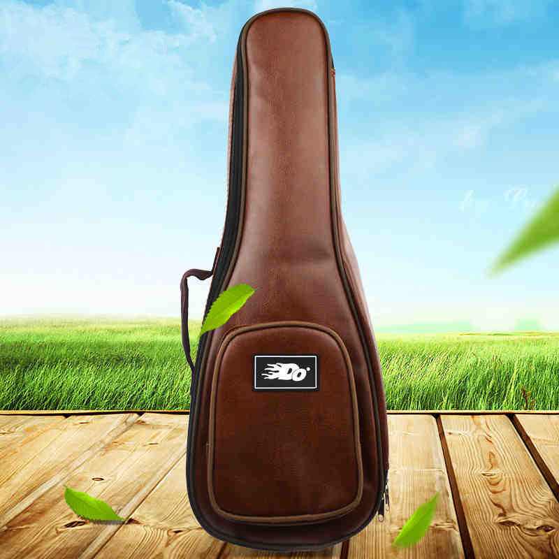12mm Waterproof Soprano Concert Ukulele Bag Case Backpack 23 24 26 Inch Ukelele Beige Mini Guitar Accessories Gig PU Leather portable hawaii guitar gig bag ukulele case cover for 21inch 23inch 26inch waterproof
