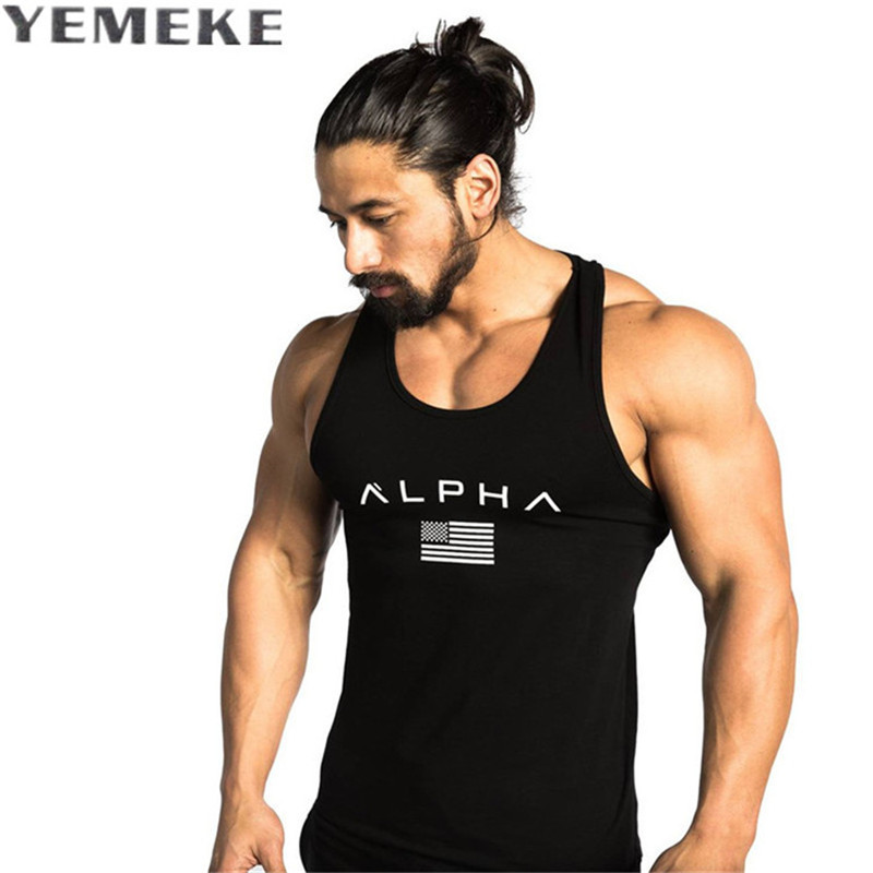 YEMEKE 2017 Men Summer bodybuilding Hooded Tank Top fashion mens Fashion clothing Loose breathable sleeveless shirts Vest