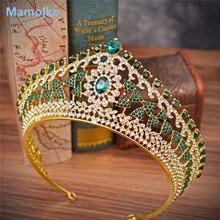 Mamojko, Большая барочная винтажная зеленая Королевская Синяя кристальная Королевская корона, Золотая свадебная повязка на голову, красивая свадебная тиара для женщин