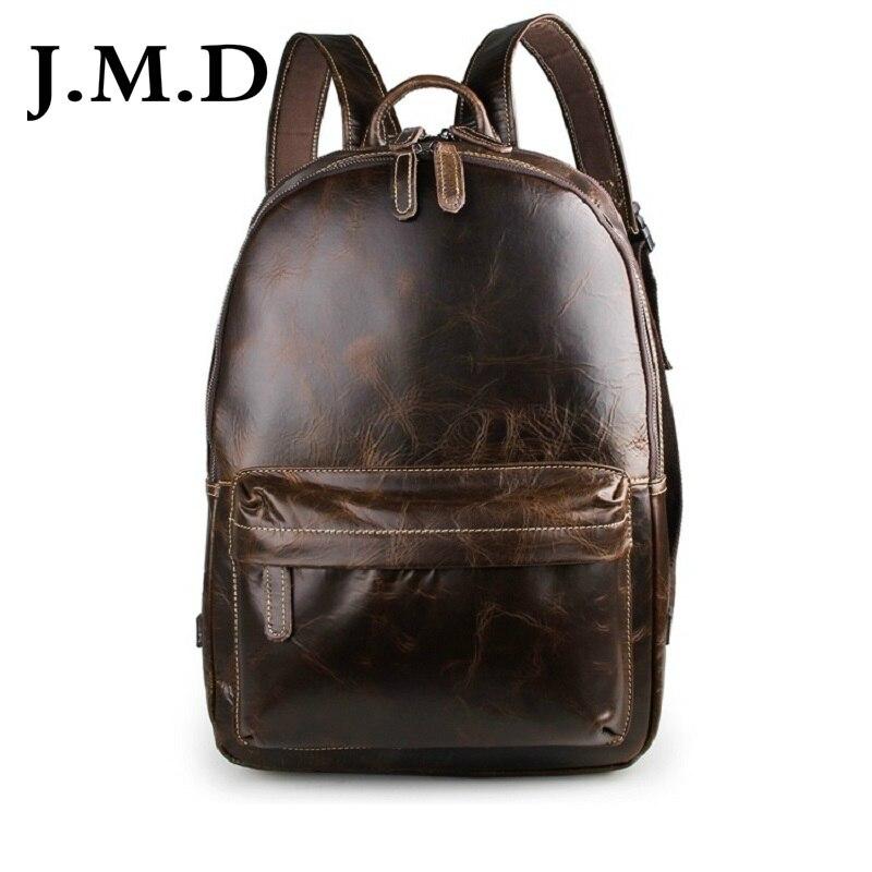 лучшая цена J.M.D 2017 New Arrival 100% Excellent Genuine Real Leathe Retro Unisex Shoulders Backpack Bag School Bag Computer Backpack 7273