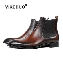 Vikeduo/брендовые ботинки «Челси» ручной работы; коллекция года; Мужская обувь из натуральной кожи; однотонные мужские ботинки в винтажном стиле; вечерние ботильоны для офиса; цвет коричневый; Sapatos