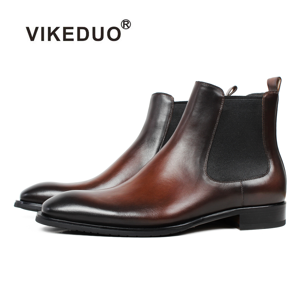 Vikeduo Model Handmade Chelsea Boots 2019 Males's Real Leather-based Footwear Strong Male Classic Boot Ankle Occasion Workplace Brown Sapatos