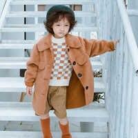 送料無料フェイクファー少年コーヒースエードコートガールボタン赤ルーズオーバーブランドデザインミドルロング黄色、白、ピンクジャケット