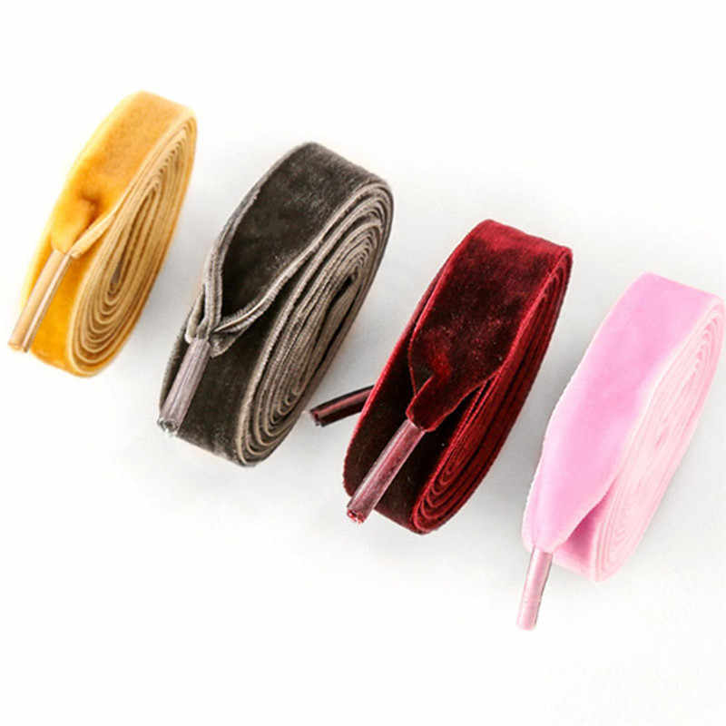 Mode Fluwelen Schoenveter Vrouwen Vintage Trendy 120 cm Laarzen Schoenveters Lint Een Side 10 Kleuren Athletic Sport Shoe Lace Strings