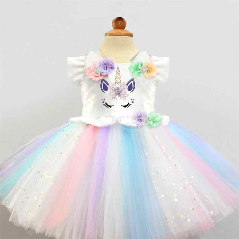9b737f4670bb2 ... Fancy Baby Girl Dress Unicorn Outfits 1 Year Girl Baby Birthday Dress  Flower Embroidery Colorful Dresses ...