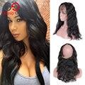 Gossip girl pré arrancadas 360 frontal peruano frontais rendas com o cabelo do bebê onda do corpo do cabelo virgem 360 fechamento de renda frontal