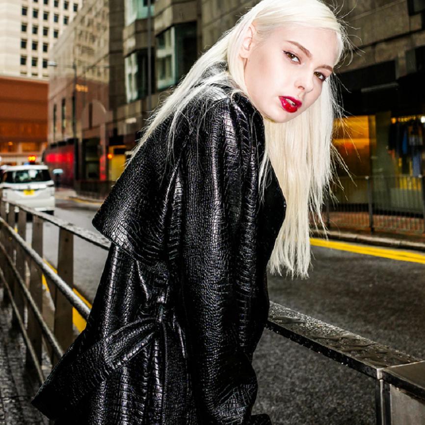 Newest PU leather jacket windbreaker women Winter new imitation crocodile pattern slim was thin long leather outwear coat L1283