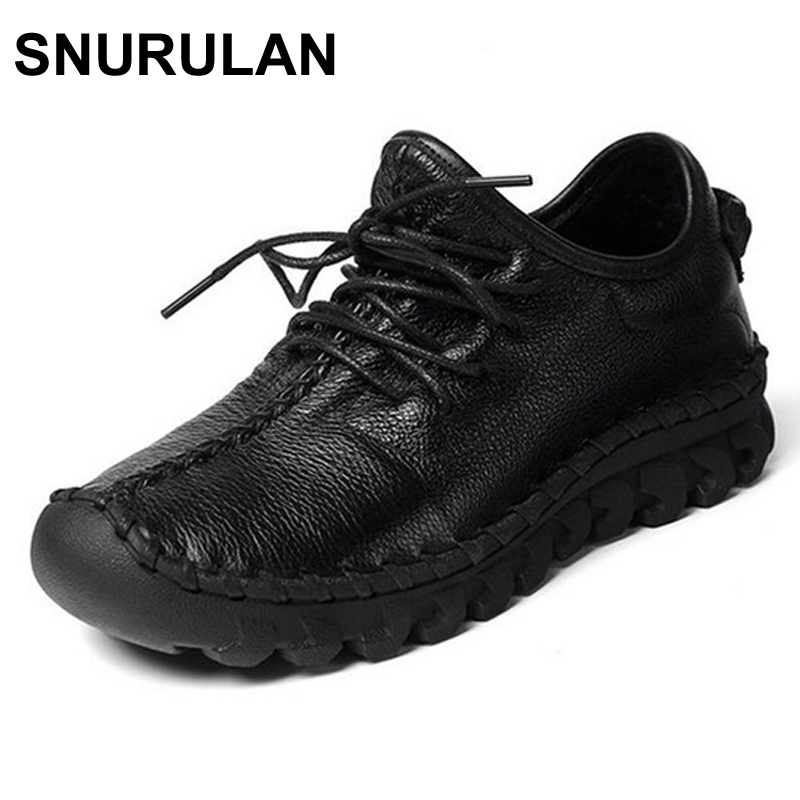 SNURULAN  Women Genuine Leather Shoes,High Quanlity Handmade Comfortable Soft Flats Shoes Women Lace Up Sport Casual shoes designer women flats amry green genuine leather lace up grey flats fashion handmade casual leather shoes soft bottom comfortable