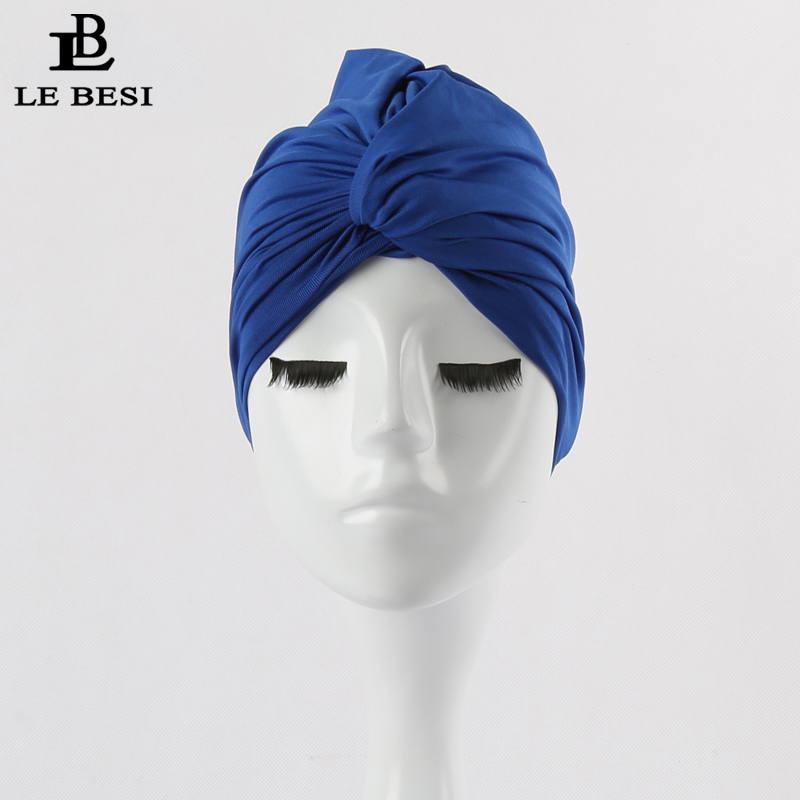 LEBESI 2017 Sexy Binder Beach Quick Dry Pleated knot Swimming Cap For Women Girls Solid Color Elastic Bathing Hat Swimming Pool stylish women s solid color pleated culotte