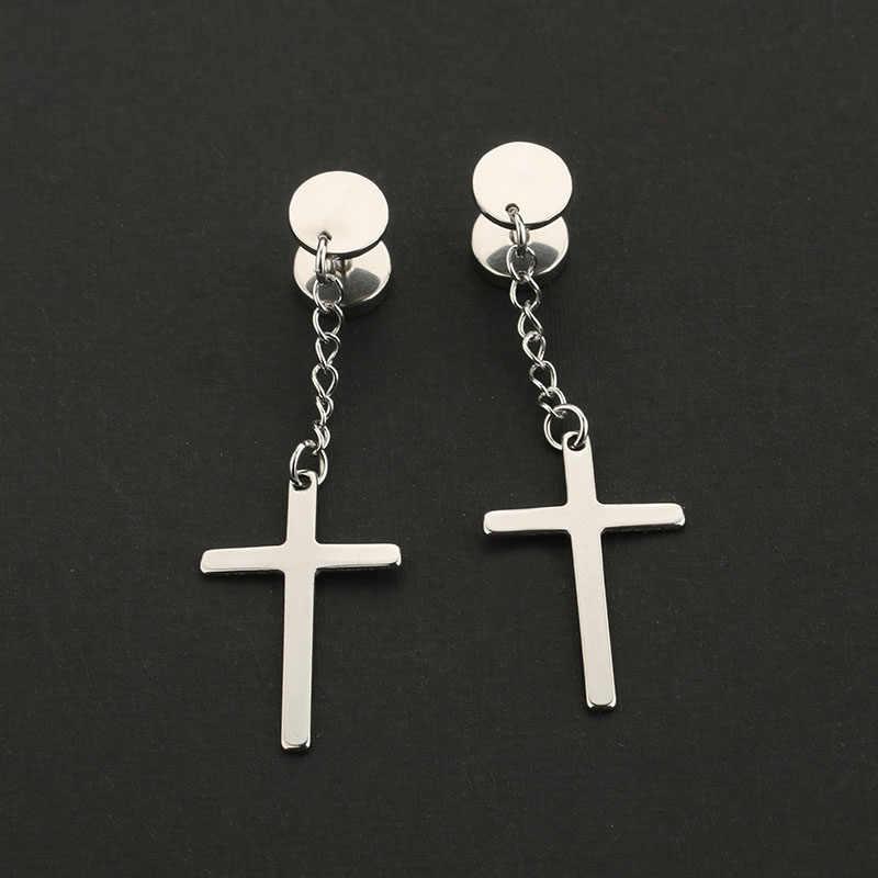 a6e5ab7f3 ... 1Pair Fashion Religious Cross Dangle Earrings Ear Plugs Titanium Steel  Silver Black Gold Long Earrings Men ...