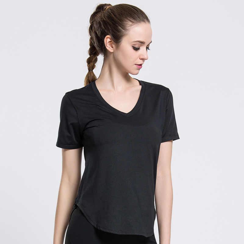 [إزالة] المهنية الرياضة تي شيرت ل صالة اللياقة البدنية النسائية تيشرت أسود قصير الأكمام مثير المؤخر شبكة سريعة الجافة اليوغا أعلى S-XL