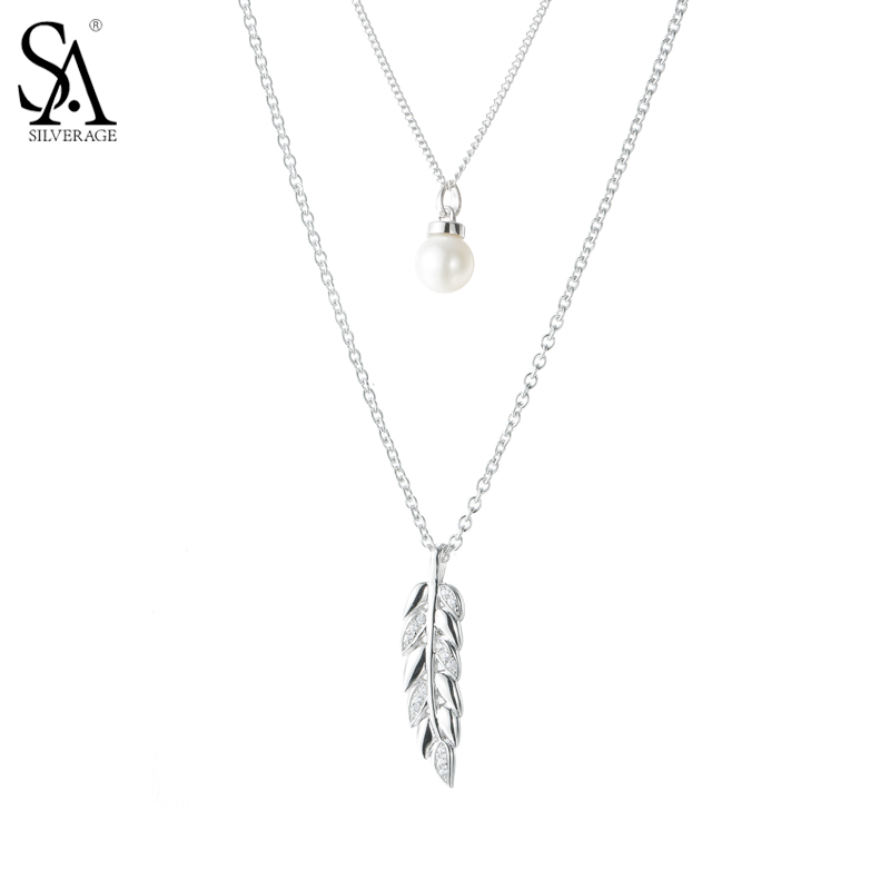 SA SILVERAGE 925 Sterling Silver Feather Necklace Long Chain Leaf with Pearl Necklaces Pendants Sweater necklace Party gifts vintage beads feather leaf sweater chain and a pair of earrings for women