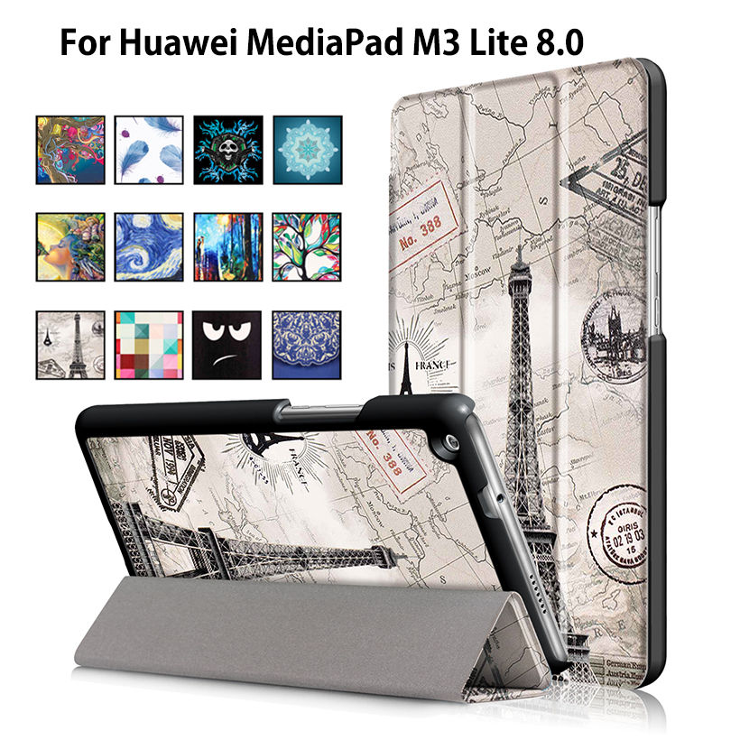 Ultra Slim Case For Huawei Mediapad M3 Lite 8.0 CPN-W09 CPN-AL00 8 Cover Funda Tablet PU Leather Folding Flip Stand Skin Case case for huawei mediapad m3 lite 8 case cover m3 lite 8 0 inch leather protective protector cpn l09 cpn w09 cpn al00 tablet case