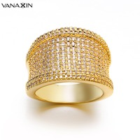 VANAXIN Wide Big Ring for Women Luxury Bijoux Fashion 2018 CZ Yellow&White&Rose Punk Ice Out Anillos Party Men Rings Jewelry