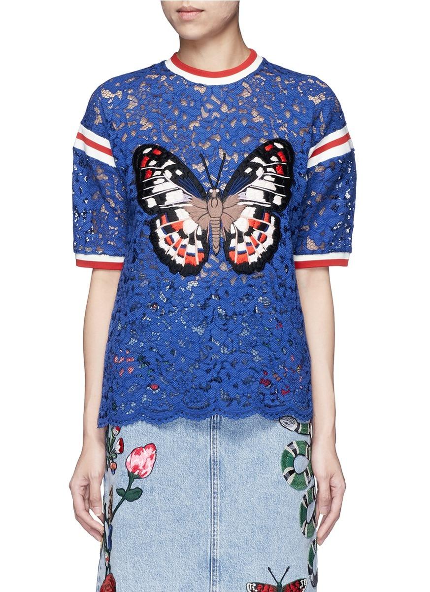 High quality women fashion luxury stripe trim butterfly