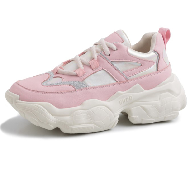 2019 Spring Style Round Toe Casual Genuine Leather Pink Beige Chunky Sneakers Dad Shoes Basket White Platform Sneakers GO2H970