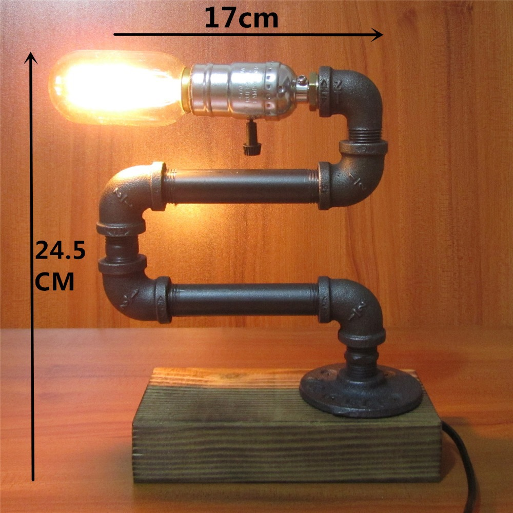 Aliexpress.com : Buy Vintage Industrial Retro Style Adjustable Steel Pipe  Bedside Desk Table Lamp Light E27 Edison Bulb Cafe Decoration From Reliable  Desk ...