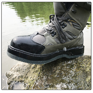 Image 5 - Fly Fishing Shoes Wading Hunting Upstream Leaking Water Shoe Felt Sole Breathable Professional Rock Leather Lace up Shoes FM2