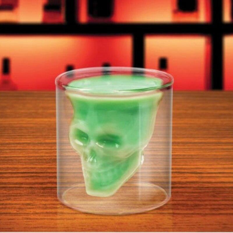 1 stk. 2,75 tommer 7 cm lille krystal kraniet hoved skud glas kop - Køkken, spisestue og bar - Foto 4