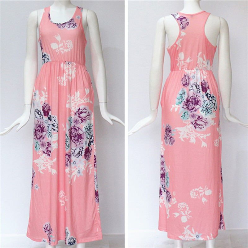 19 Summer Long Dress Floral Print Boho Beach Dress Tunic Maxi Dress Women Evening Party Dress Sundress Vestidos de festa XXXL 46