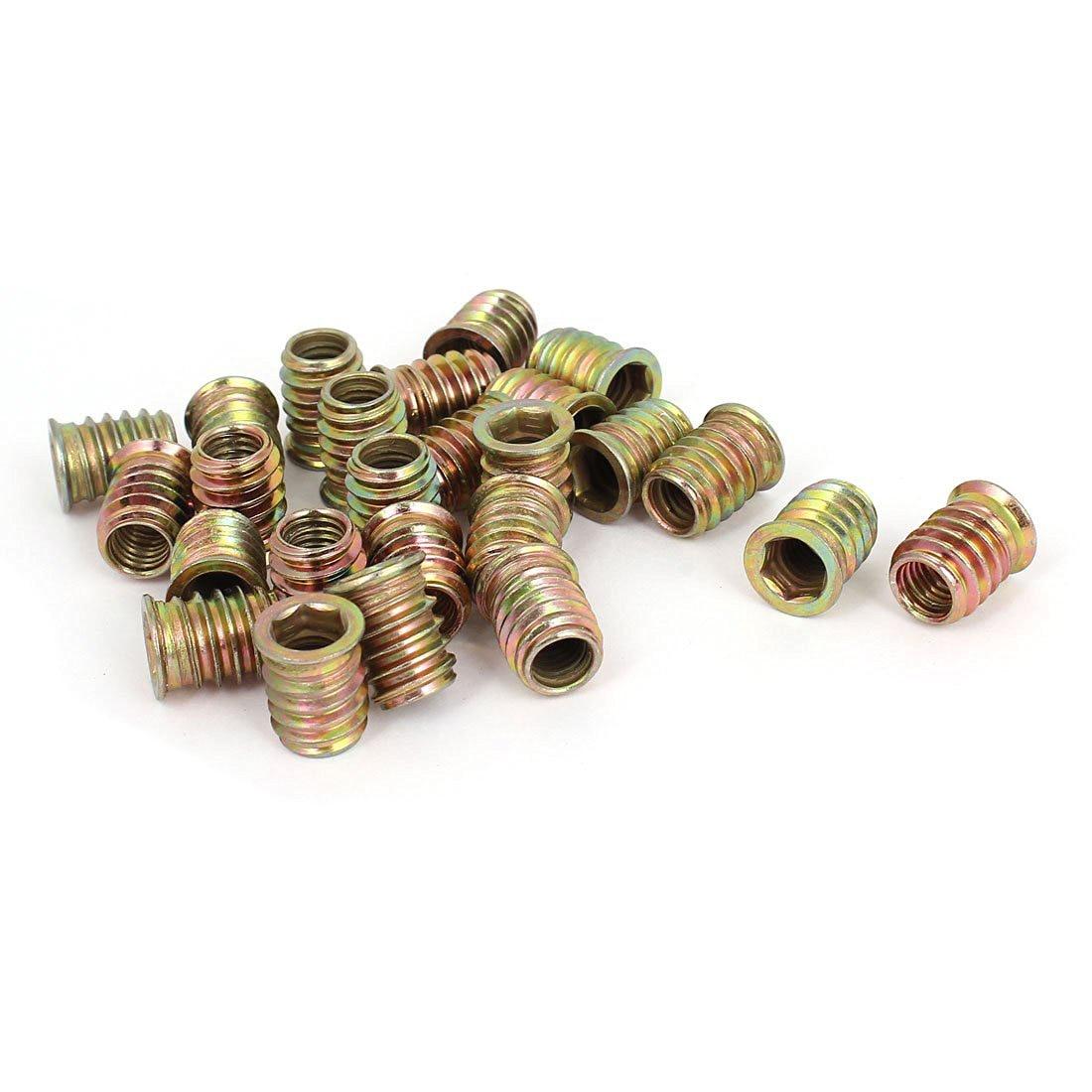25 Pcs M8 E-Nut Wood Insert Interface Screws Hex Socket Nut Fittings, Brass Tone 25 pcs m8 e nut wood insert interface screws hex socket nut fittings brass tone