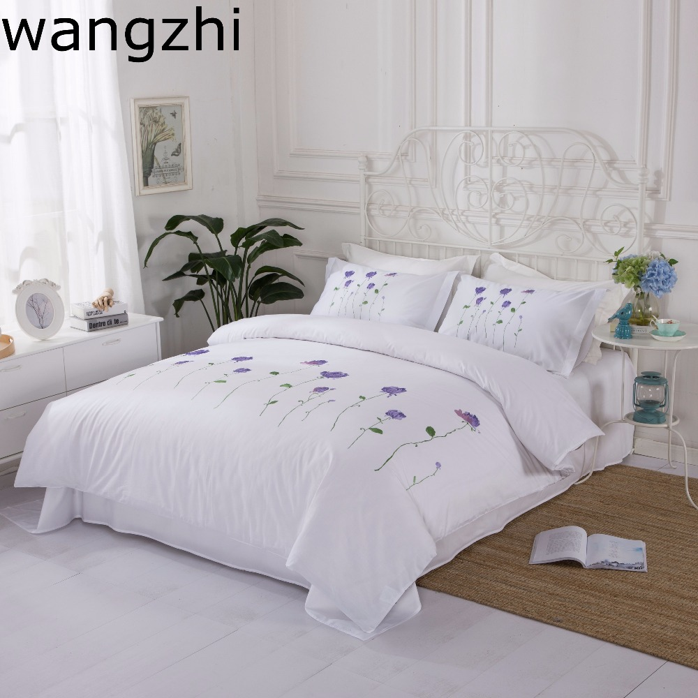 wangzhi Ultra Soft 4-Piece Cotton Full/Queen Embroidered Pattern Duvet Cover Set - Hypoallergenic and Wrinkle Resistant, Whitewangzhi Ultra Soft 4-Piece Cotton Full/Queen Embroidered Pattern Duvet Cover Set - Hypoallergenic and Wrinkle Resistant, White