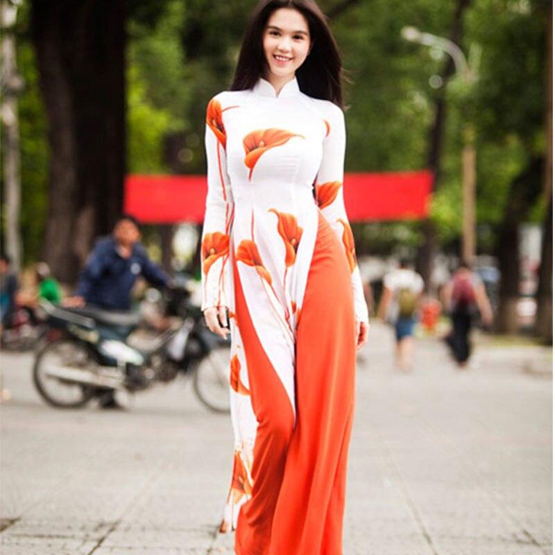 Women clothes dress spring new traditional two piece set of Vietnamese aodai cheongsam