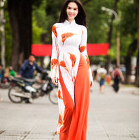 Women clothes dress spring new traditional two piece set of Vietnamese aodai cheongsam