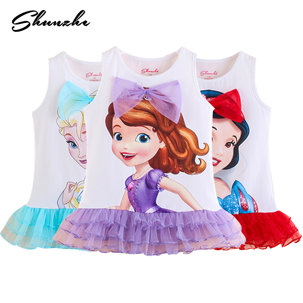 2018 Summer Princess Girl T-shirt FROZEN Elsa Sofia Belle Baby Girls t shirts Tops Children Cartoon Cotton Toddler Kids Tees