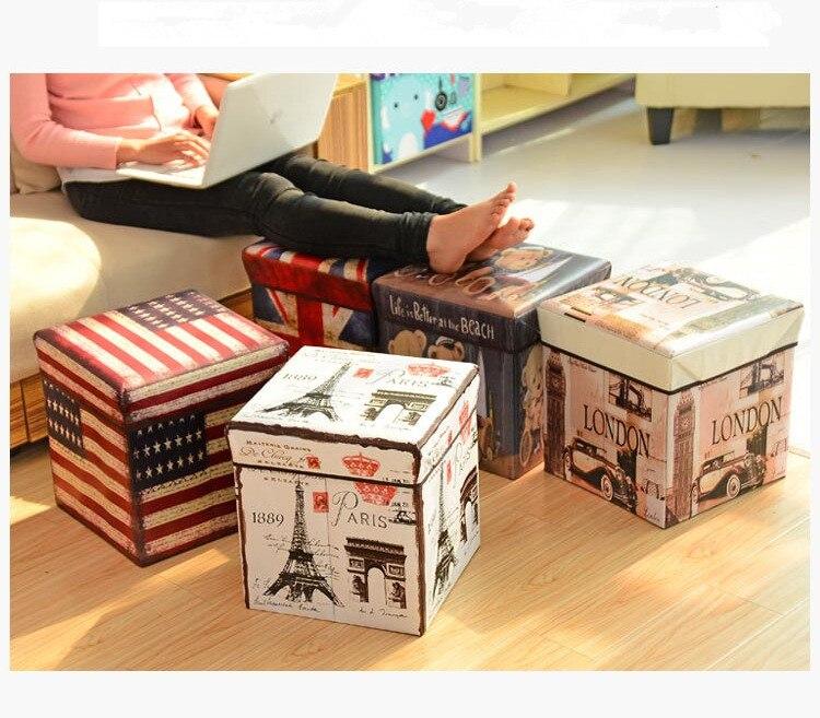 1PC Retro Folding stool sit box Shoes storage box organizer Underwear kid toys Cosmetics shoe Taburete home decoration ND 001