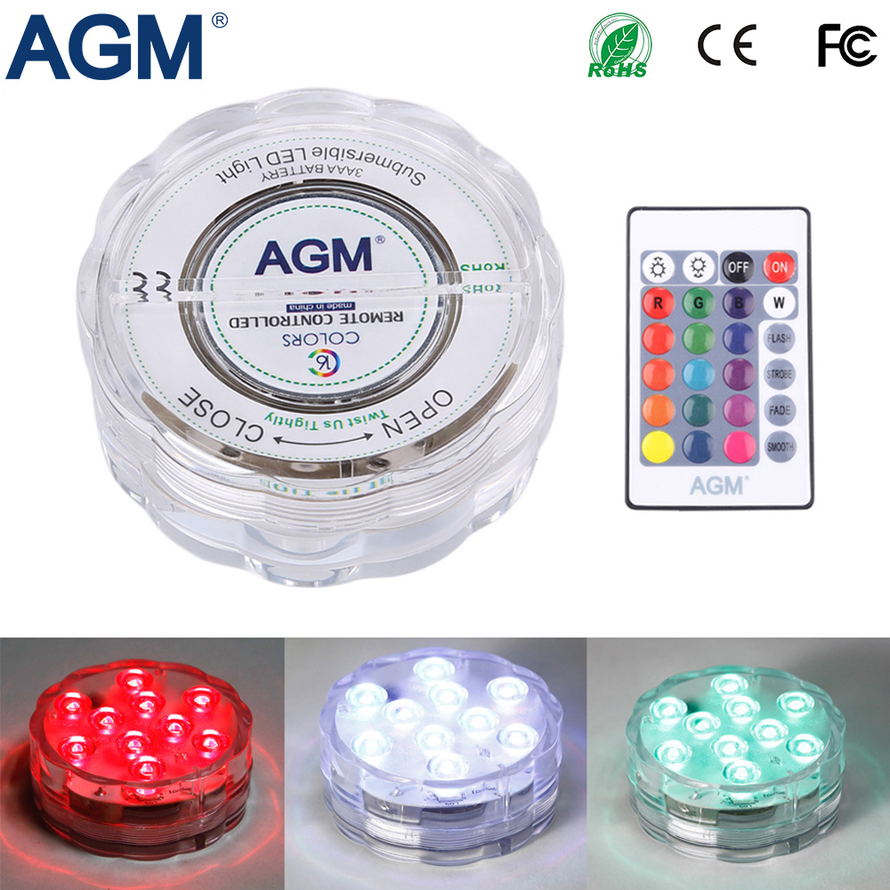 AGM LED Submersible Light Decoration Candle Floral Tea Lamp Waterproof 10LED RGB Remote Flashing Underwater Lights For Christmas