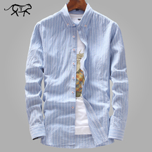 New Arrived Mens Work Shirts Brand Fashion Slim Fit Long Sleeve Striped /Twill M