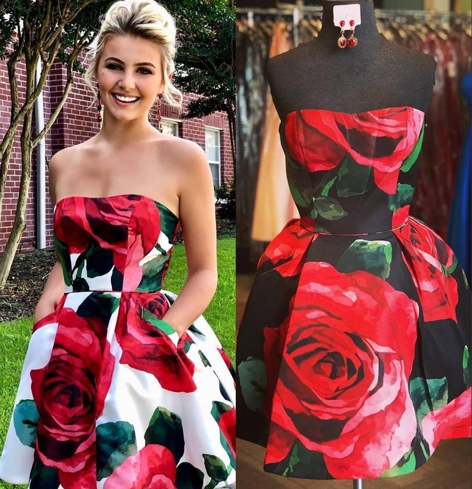 Robes de bal à imprimé Floral Roses 2019 robe de bal courte/Mini vestido de formatura avec poches jolie robe de Graduation