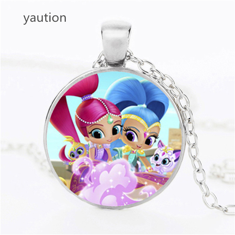 2017 New Arrival Shimmer and Shine Necklace, Handmade Glass Cabochon Chain Pendant Necklace, Pendant Necklace for Children Gift