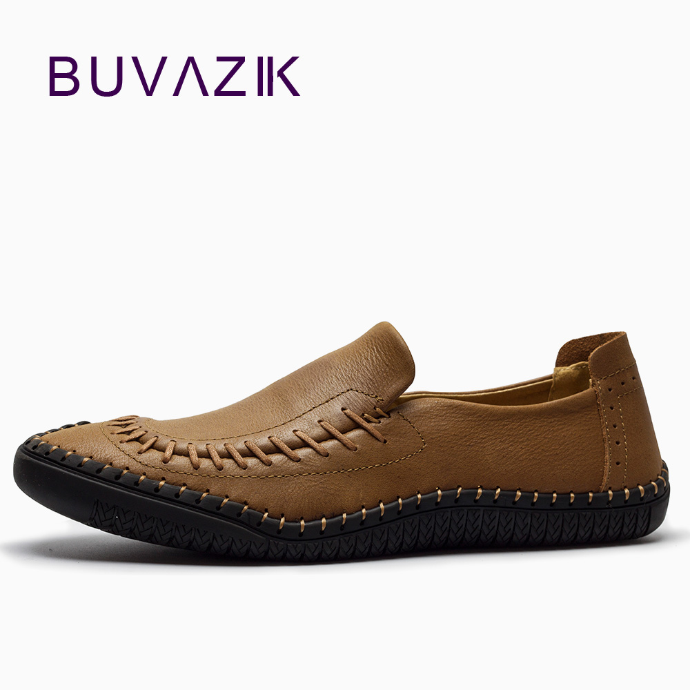 BUVAZIK 2018 loafers New casual shoes men British fashion sets of shoes lazy toe loafers genuine leather handmade tide shoes size 38 43 2016 new men fashion steel head genuine leather loafers lazy height increasing casual shoes mp10