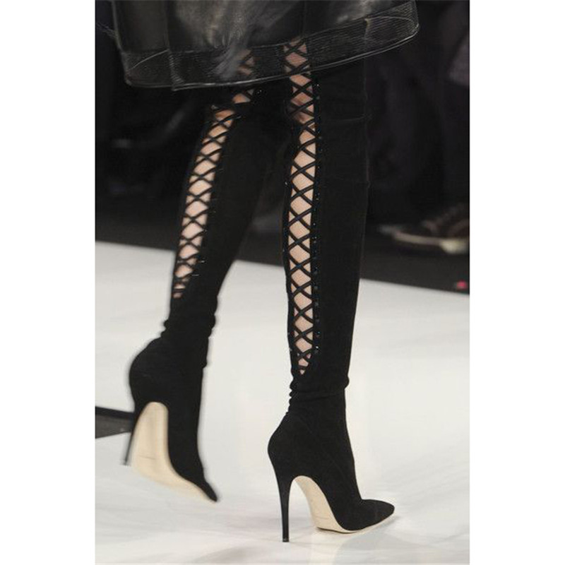 Sexy Black Purple Back Cross tied High Heels Shoes Women Pointy Toe Long Botas Mujer Runway Thigh High Over Knee Stiletto Boots