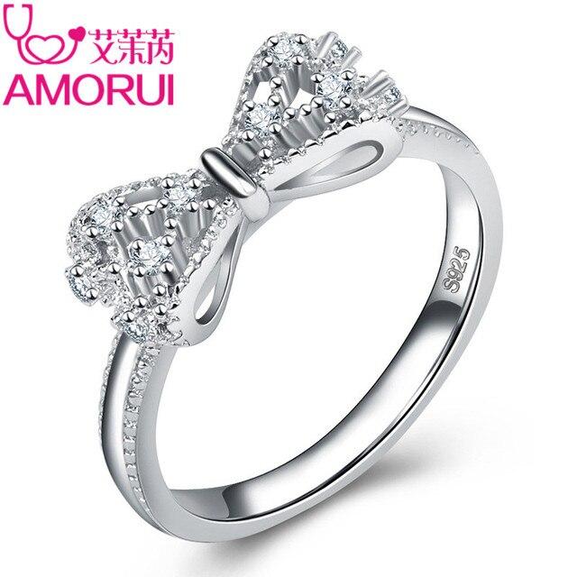 AMORUI Cute Bow CZ Birthday Stone Wedding Rings For Women Jewelry Silver Bowknot