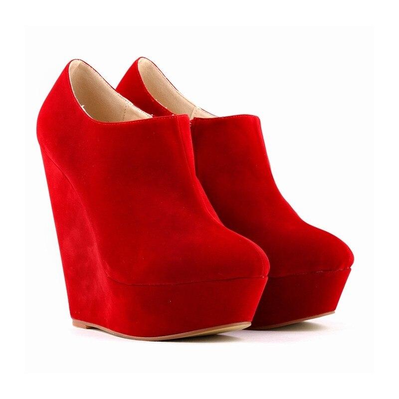 Women Autumn Elegent Thick Platform High Heels Flock High Heels Shoes Ladies Ankle Boots Wedges Pumps Shoes Plus Size SMYBK-049