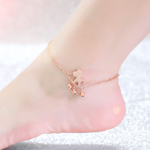 Top Quality 18KGP Rose Titanium Steel Horse Bells Anklet Women Fashion Brand Jewelry Free Shipping GA029
