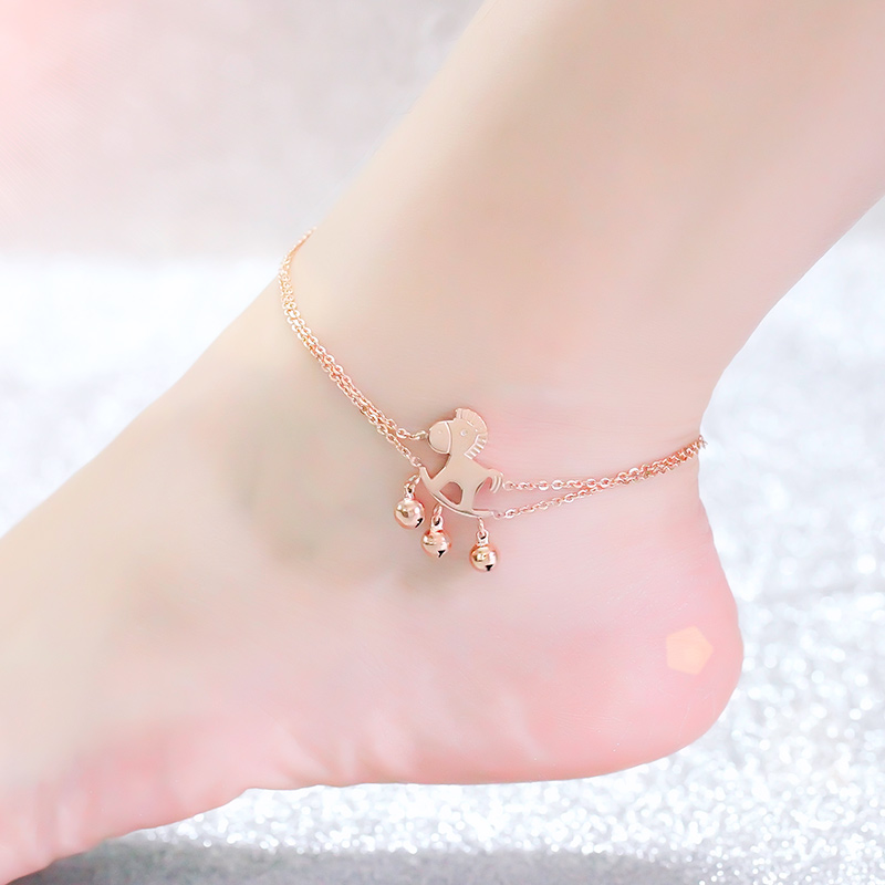 Top Quality 18KGP Rose Titanium Steel Horse Bells Anklet Women Fashion Brand font b Jewelry b