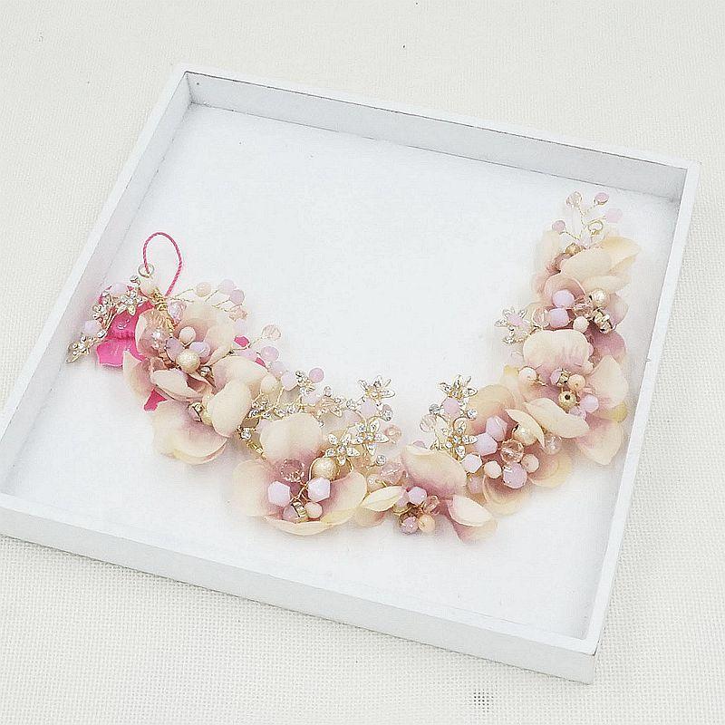 simulation flower pink rhinestone bride wedding Tiaras hair headdress hoop wedding hair accessories цена